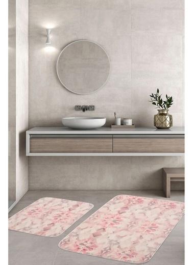Hamur Diamond 2 'li Set Banyo Paspası Kaymaz Taban Banyo Halısı Pembe